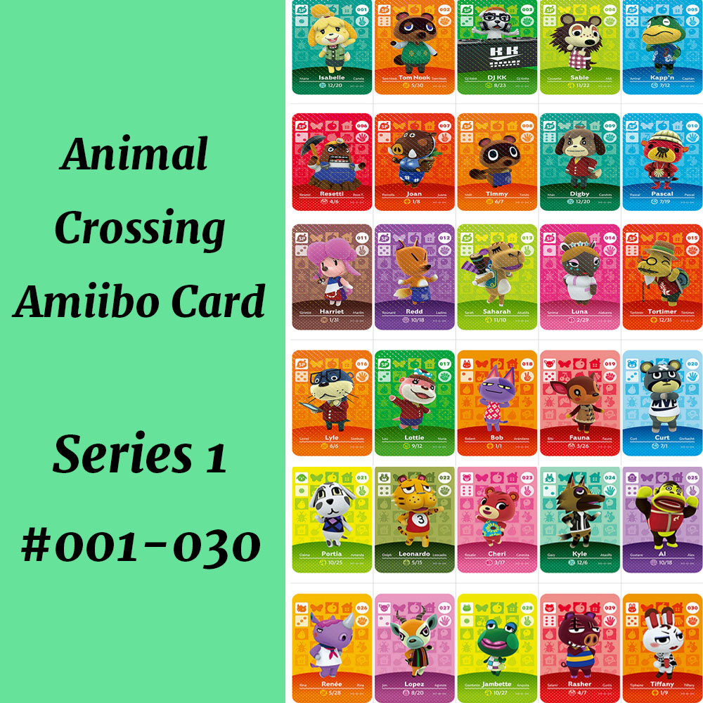 Series 1(001-030)018 Bob 019 Fauna Animal Crossing Card Work For NS Game Support NFC 3DS Amiibo Card
