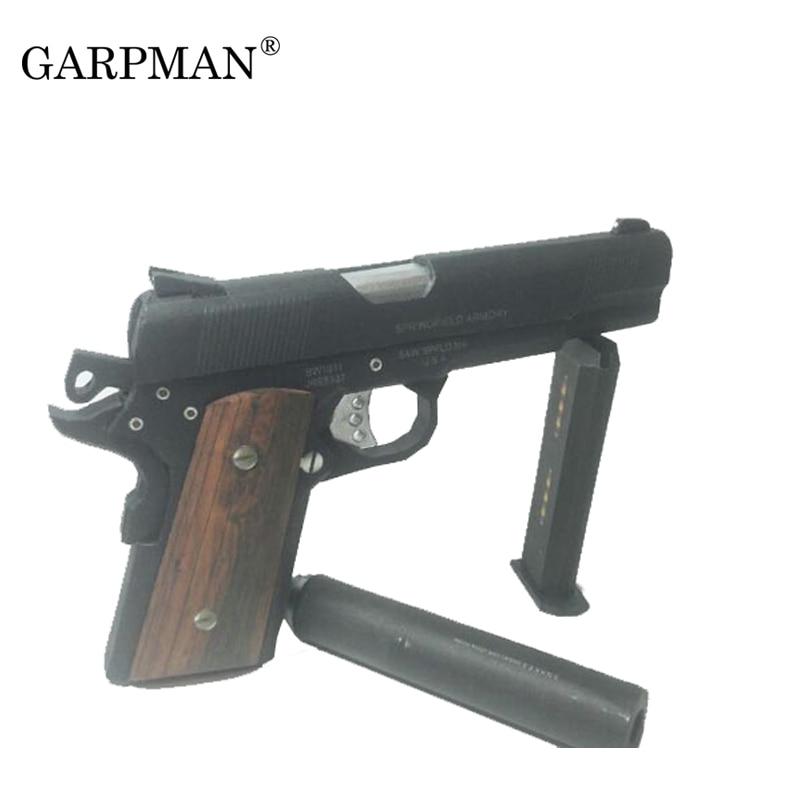3D Paper Model Guns Hitman US Colt M1911 Pistol 1:1 Scale Weapons Puzzles Diy Papercraft Toy