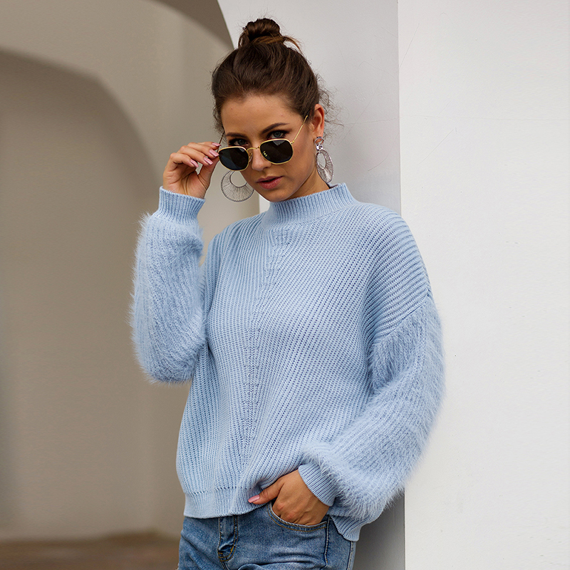 2020 New Arrival Long-Sleeve Ladies Sweaters Warm Winter Pullovers For Female Solid Women's Black Sweaters