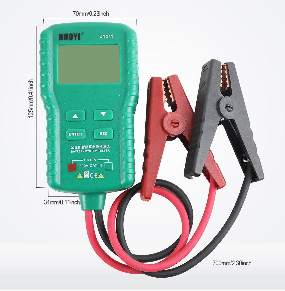 DUOYI DY219 12V Car Battery Tester 100~ 1700CCA  Digital Automotive Analyzer Lead Acid Battery
