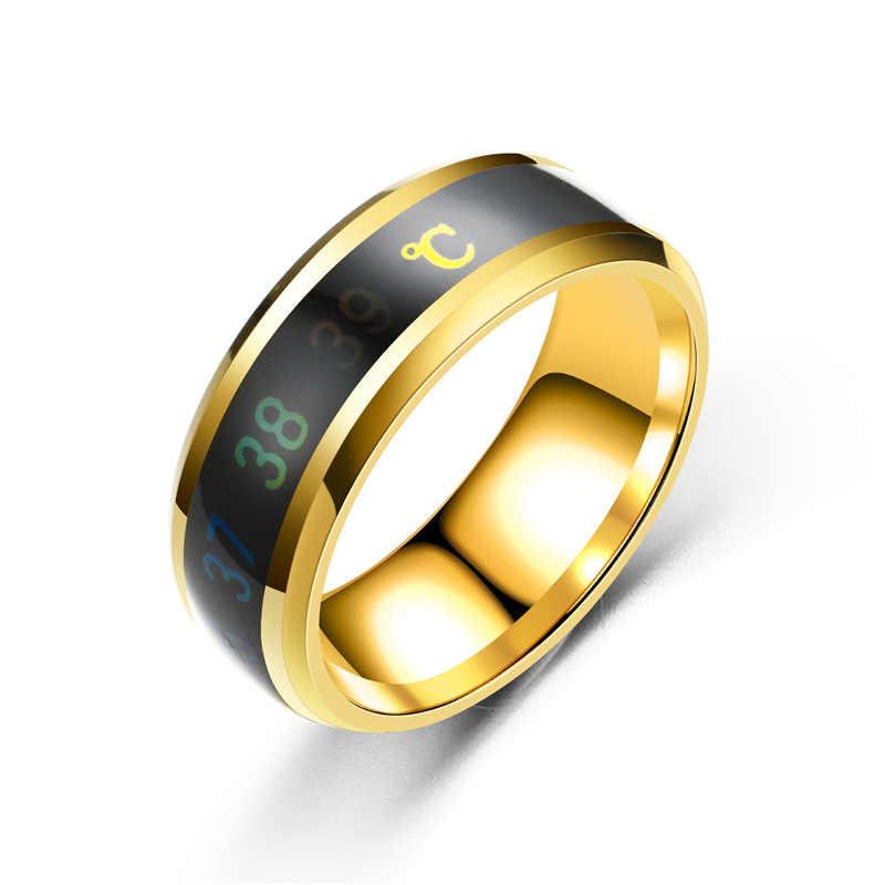 2019 ยุโรปและอเมริกาแฟชั่นอัจฉริยะใหม่ warm คู่แหวนอุณหภูมิแสดงแหล่งที่มาของแหวน