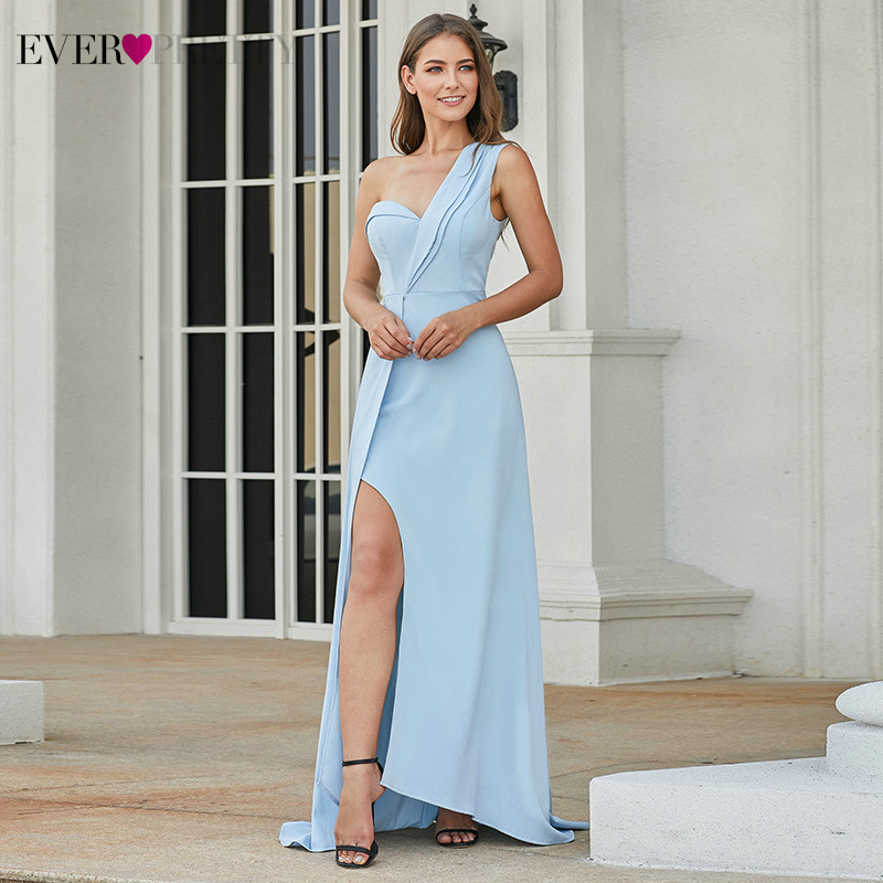 Elegant Blue Prom Dresses Ever Pretty Side Split One-Shoulder Asymmetrical Sleeveless Formal Party Gowns Vestidos De Fiesta
