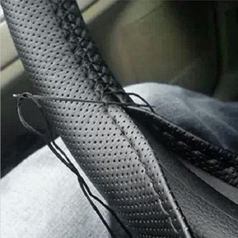 1 шт. DIY чехол рулевого колеса автомобиля в комплекте иголки и нитки из искусственной кожи серого и черного цветов