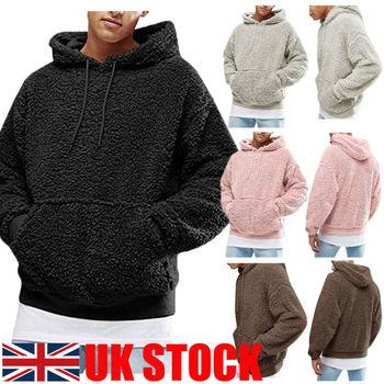 UK Men Fashion Warm Fluffy Hoodie Pullover Fleece Sweatshirt Casual Hooded Solid Coat Jumper Autumn Winter men patchwork thermal furry hooded sweatshirt plush zip up winter warm coat for man casual solid male fuzzy hoody sweatshirt d20