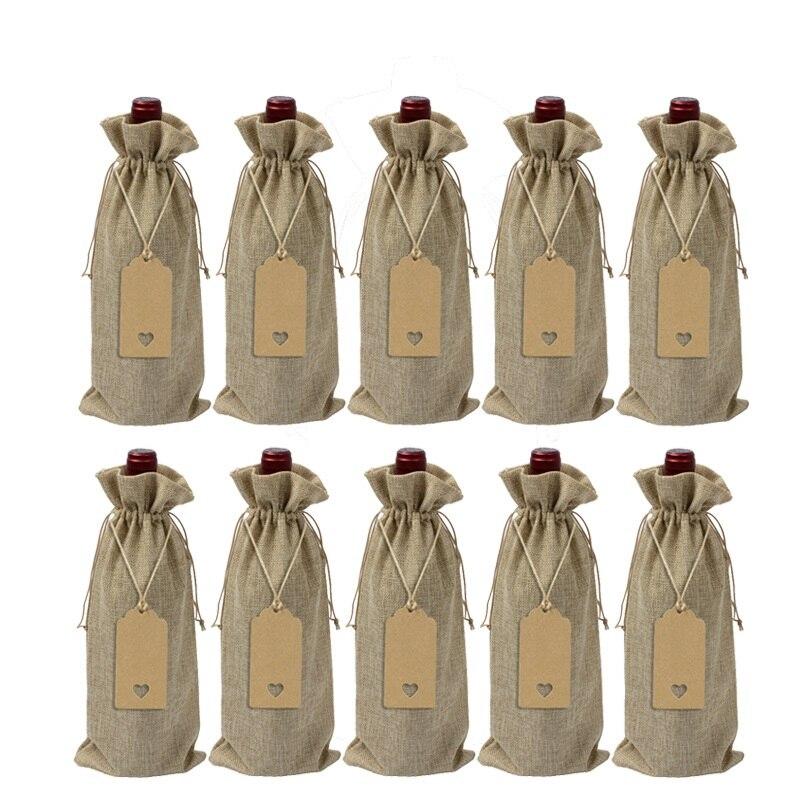 10pcs/lot Wine Bottle Covers Drawstring Bag With Heart Tag Set Burlap Linen Pouches For Christmas Wedding Decoration Storage Bag