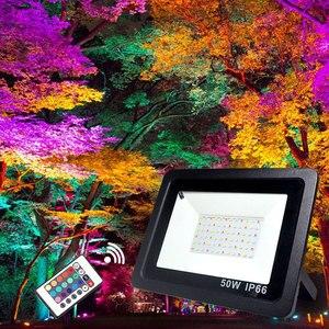 Image 5 - RGB LED フラッドライト防水 100 ワット 50 ワット 30 ワット 220V 230V カラフルなリモコン屋外壁ランプ庭プロジェクター
