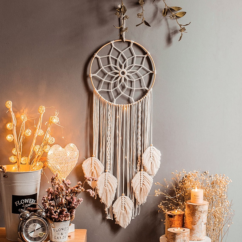 Large Nordic Dreamcatcher Macrame Wall Hanging Tapestry Mandala Farmhouse Wall Decorations Chic INS Boho Wind Chimes Room Decor
