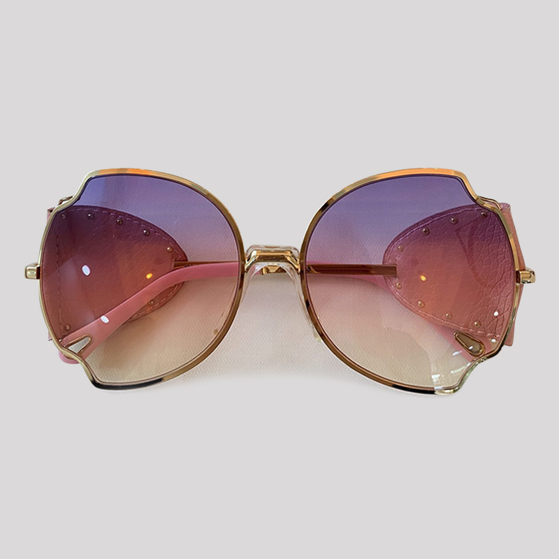 Fashion Butterfly Sunglasses Women Luxury Brand Designer Leather Rivet Sunglasses UV400