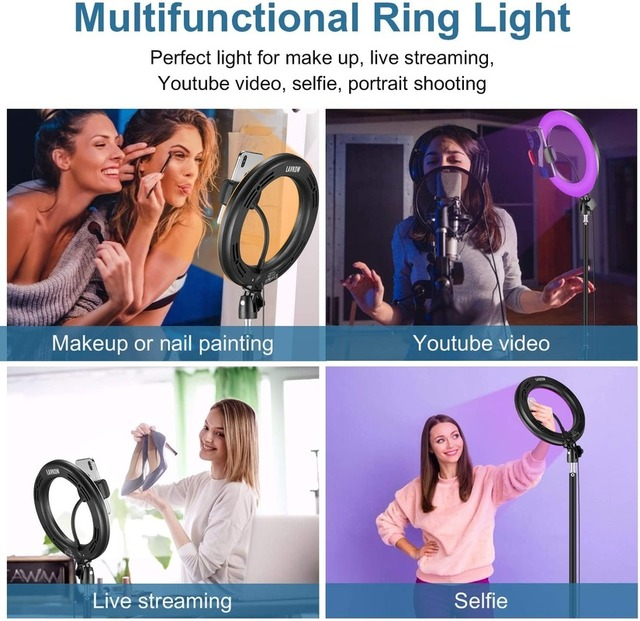 """10"""" RGB Selfie LED Ring Light 26 Colors Mode With 1.6m Tripod Stand Phone Holder For Live Stream/MakeUp/YouTube/TikTok Ringlight 5"""