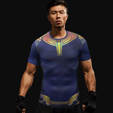 Hoge kwaliteit gym t-shirt Fitness Compressie Shirt Mannen Korte Mouw 3D Superhero Tees Bodybuilding Running T Shirts(China)
