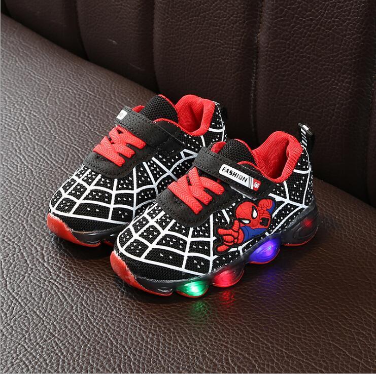 Toddler Kids Children Baby Boy Girl Striped Shoes LED Light Up Luminous Sneakers