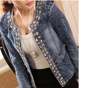 Image 5 - FMFSSOM 2020 New Arrival Spring Antumn Denim Jackets Vintage Diamonds Casual Coat Womens Denim Jacket For Outerwear Jeans