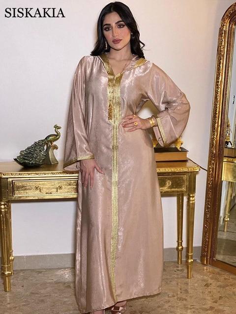 Siskakia Dubai Arabic Muslim Abaya Dress for Women Fall 2020 Champagne Moroccan Kaftan Hooded Robe Turkish Islamic Jalabiya 1