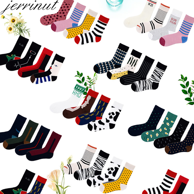 Jerrinut Socks Women Happy Funny With Print Art Warm Winter Socks With Face Stitching Cotton Fashion Harajuku Fancy Sock 1Pairs