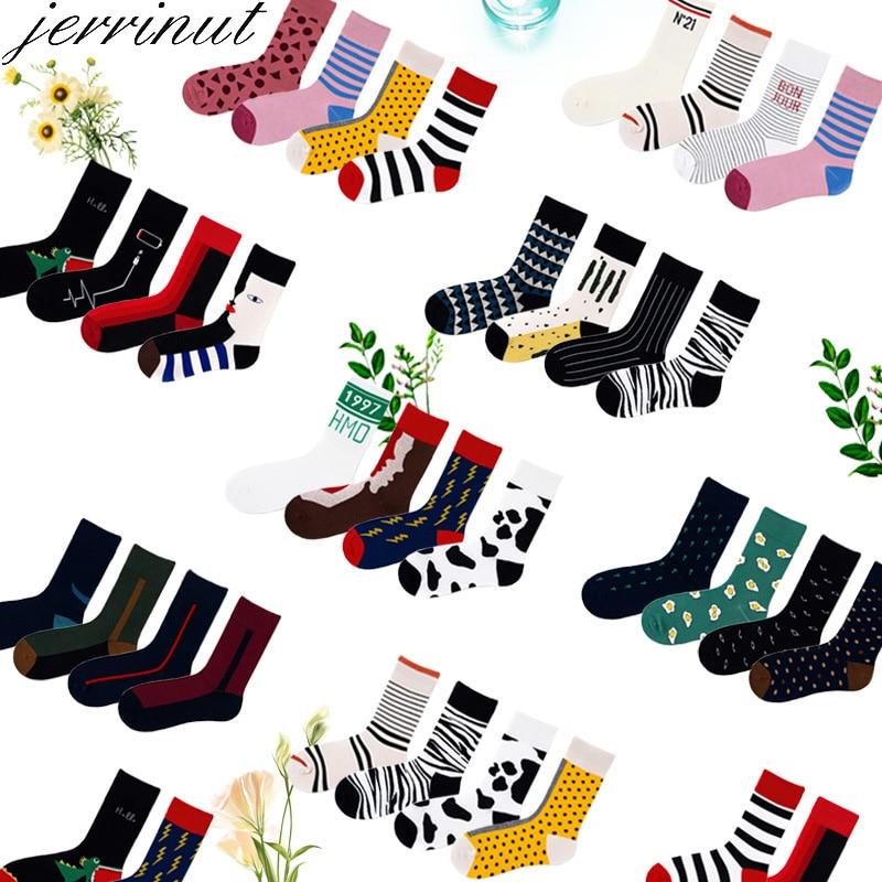 Jerrinut Socks Women Happy Funny With Print Art Warm Winter Socks With Face Stitching Cotton Fashion Harajuku Fancy Sock 1Pairs