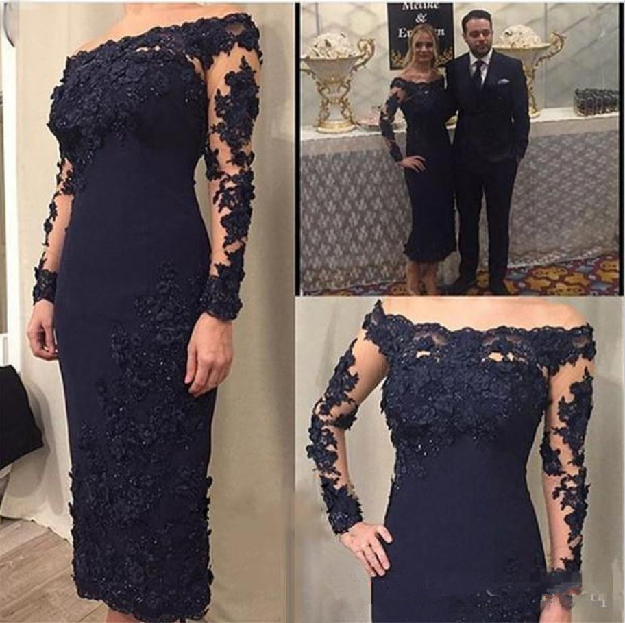 2019 Mother Of The Bride Dresses Navy Blue Sheath Satin Ankle Length Off The Shoulder Long Sleeves Women Evening Party Gown