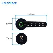 Manija electrónica cerradura inteligente huella Digital biométrica Digital con código sin llave cerradura de puerta para el hogar Compatible con diferentes mortajas