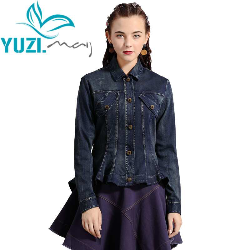 Jacket Women 2019 Yuzi.may Boho New Denim Women Coat Turn-down Collar Single Breasted Asymmetrical Jackets B9290 Casaco
