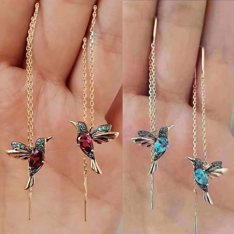 Unique Long Drop Earrings Bird Pendant Tassel Hummingbird Earring Crystal Pendant Earrings Ladies Jewelry Design