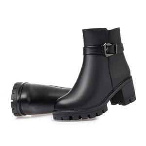 Image 4 - MORAZORA bottines à talons hauts à plateforme pour femmes, bottines en cuir véritable, garde au chaud, bottines de neige, nouvelle collection 2020