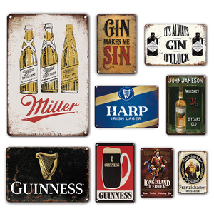 Irish Pub Wall Decor Metal Plates Vintage Beer Poster Tin Sign Gin Wine Signs Decorative Plaques Retro Kitchen Plate Home Decor
