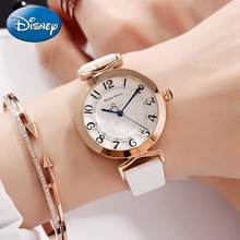 Luxury Bling Rhinestone Ladies Leather Band Quartz Waterproof Watch Disney Mickey Mouse Women's Fashion Trendy Cute Clocks Gift