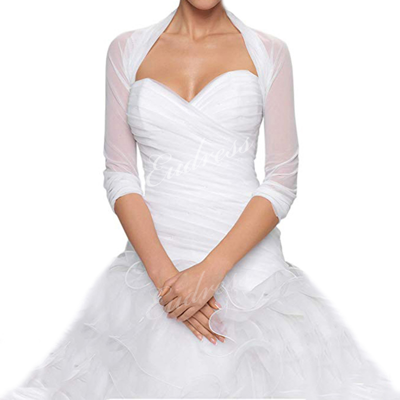 Bridal Ivory White Tulle Bolero Shrug Wedding Jacket