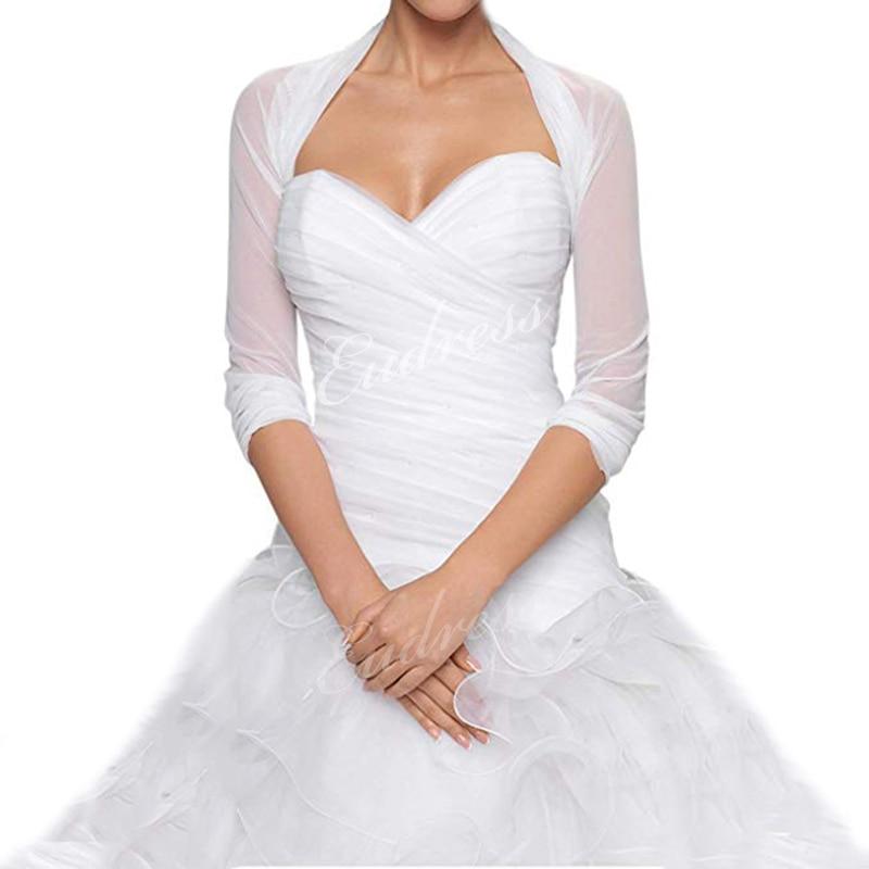 Bridal Ivory White Tulle Bolero Shrug Wedding Jacket