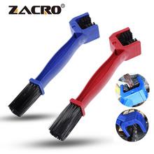 Zacro środek do czyszczenia łańcuchów motocyklowych plastikowy rower rowerowy Moto szczotka do jazdy na rowerze czysty łańcuch do czyszczenia zewnętrzny przyrząd do oczyszczania na drodze MTB tanie tanio ZSW0052 ABS+Nylon Double-End Bicycle Motorcycle Chain Blue Red 25 5*6*3 2cm About 75g