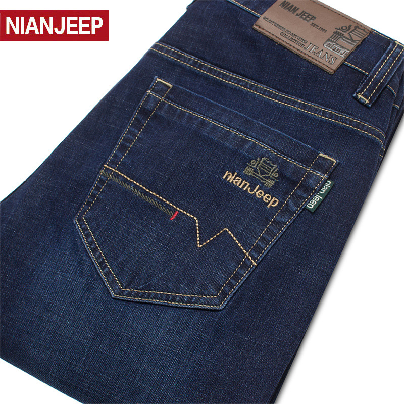 Nianjeep NIANJEEP Jeans Men's Autumn New Style Genuine Product MEN'S Trousers Casual Straight-Cut Stretch Pants Youth