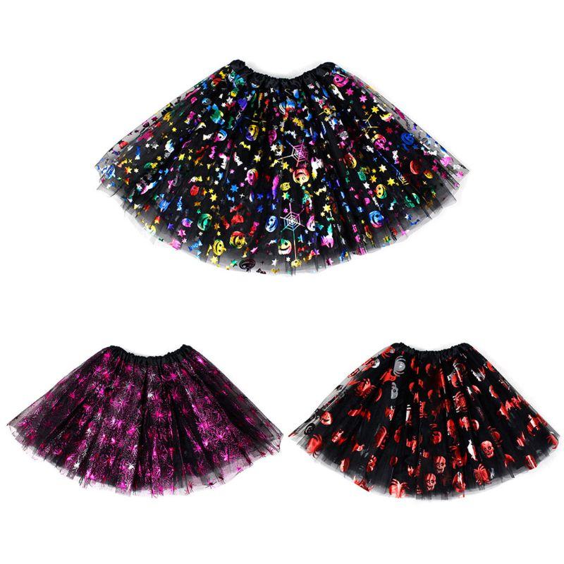 Meninas do dia das bruxas festa ballet tutu saia metálico abóbora spiderweb crânio lantejoulas tule vestido de dança palco cosplay traje