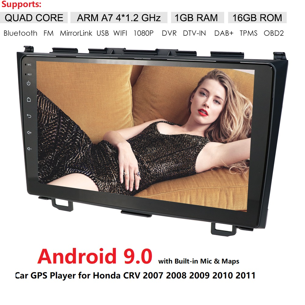 Android9.0 HD 1024*600 Car NODVD Player Radio For <font><b>Honda</b></font> <font><b>CRV</b></font> <font><b>2007</b></font> 2008 2009 2010 2011 4GWIFI <font><b>GPS</b></font> Navigation Head Unit 2 din 1GRAM image
