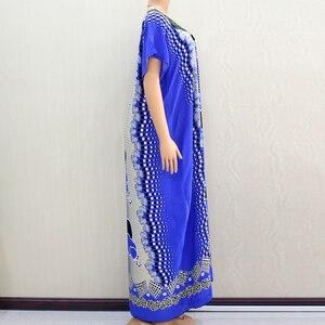 Image 3 - Африканское Дашики Dashikiage 2019, Анкара, в форме сердца, с цветочной аппликацией, синее 100% хлопковое женское платье