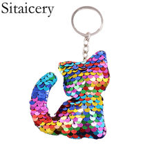 Sitaicery Keychain Pompom Cat Sequins Key Chain For Women Kids Chaveiro llaveros Brelok Gift Nightmare Before Christmas Key Ring(China)