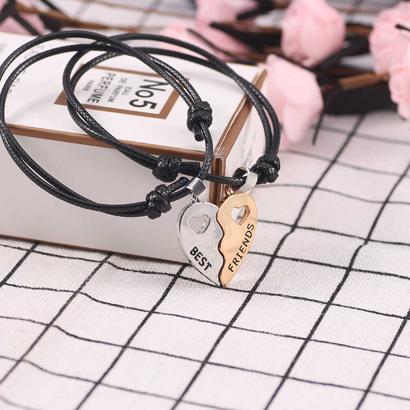 2019 New Charm 2 Pcs/Set Best Friends Bracelets For Women Girls Hollow Out Heart Shape Pendant Bangles Bff Forever Jewelry Gifts