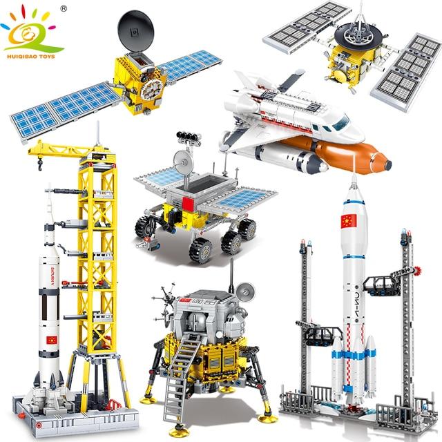 HUIQIBAO Space Station Saturn V Rocket Building Blocks Cityรถรับส่งSatelliteนักบินอวกาศรูปManอิฐชุดของเล่นเด็กของขวัญ