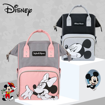 Disney Mickey Minnie USB Diaper Bag Large Capacity Mummy Maternity Nappy Bag Baby Travel Backpack For Baby Care Designer Pink Bags Kids