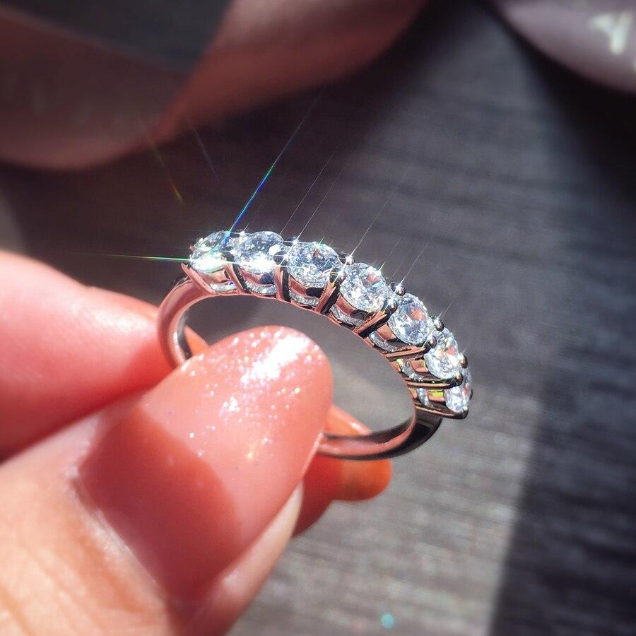 Takı ve Aksesuarları'ten Halkalar'de Klasik 14K Beyaz Altın DF renk 925 ayar gümüş Moissanite yüzük parti takı Düğün yıldönümü yüzüğü'da  Grup 1