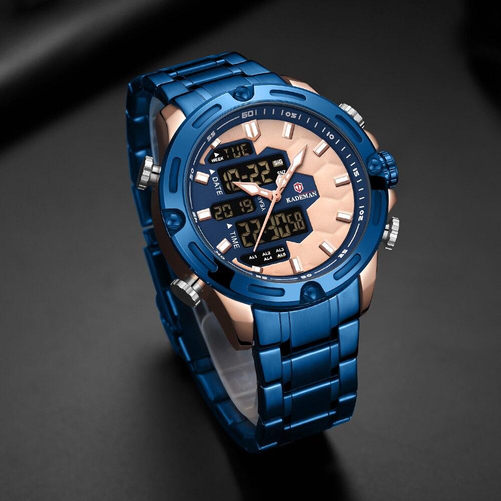 KADEMAN nowa piłka nożna Inspire Sport zegarek luksusowa moda męska stalowe zegarki TOP marka podwójny ruch LCD zegarek męski Relogio 2
