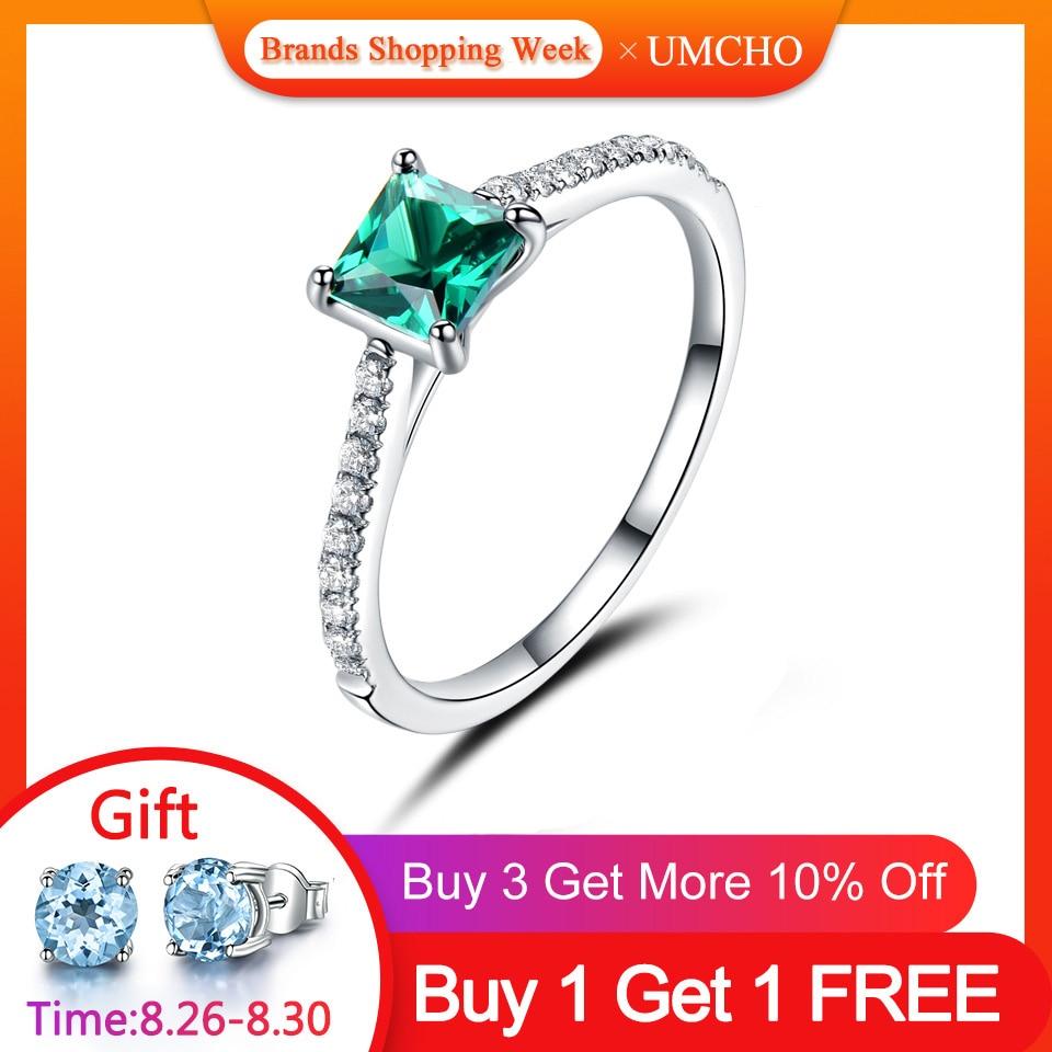 UMCHO Emerald Gemstone Rings Birthstone-Ring Fine-Jewelry 925-Sterling-Silver Green Women