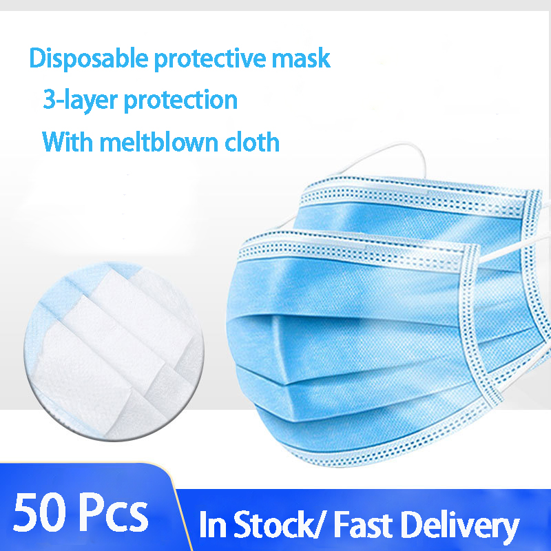 100/200pcs 3 Laye Mask dust protection Masks Disposable Face Masks Elastic Ear Loop Disposable Dust Filter Safety Mask Anti-Dust
