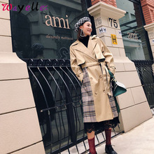 Korean Women Clothes 2019 Autumn Windbreaker Female Long Coat New Style Plaid Contrast Color Back Green Pleated Trench Overcoats
