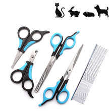 5pcs stainless steel pet dog scissors grooming cat hair thinning