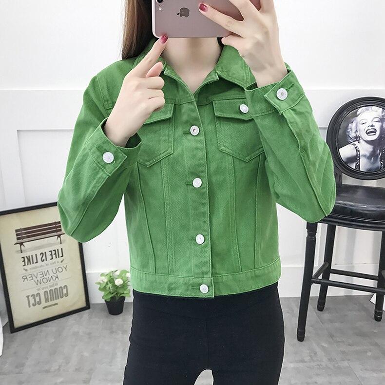 Basic Jeans Jacket Women Green 2019 Autumn Woman Denim Jean Womens Coats Jackets Female Slim Stretch Short Coat Feminina Clothes (8)