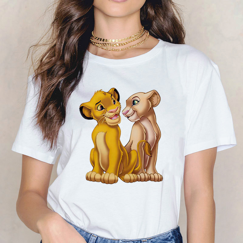 New summer <font><b>T</b></font>-<font><b>shirt</b></font> <font><b>Lion</b></font> <font><b>King</b></font> Cartoon Printed <font><b>T</b></font> <font><b>Shirt</b></font> <font><b>Women</b></font> Fashion Casual Harajuku Tshirt Female Graphic cute Tee tops Clothes image