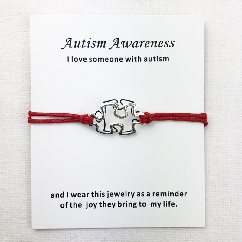 Awareness autismo encantos manguito multicamadas vermelho cera corda pulseiras de prata antigo chapeado feminino unissex com cartão pulseira jóias