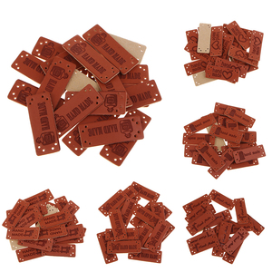 20Pcs Handmade Leather labels Tag with Holes for Knitted Products Sewing Craft DIY Embellishment Knit Apparel Accessories