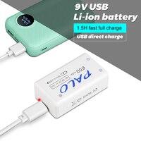Bateria recarregável do lítio 9v da bateria 6f22 650 mah do li-íon 9v para o microfone do multímetro do controle remoto ktv do brinquedo com usb