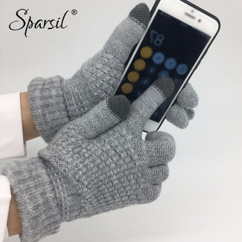 Sparsil Winter New Magic Touch Screen Knitted Gloves Thicken Full Fingers Gloves Warm Glove Stretch Men Women Knit Mittens sparsil women winter velvet touch screen gloves warm fleece full finger cashmere mittens windproof elegant glove female girl