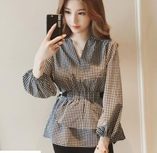 2019 Blouse Korean Vadim Women Tops V-neck Long-sleeved Black And White Plaid Shirt Women Slim High Waist Shirt(China)